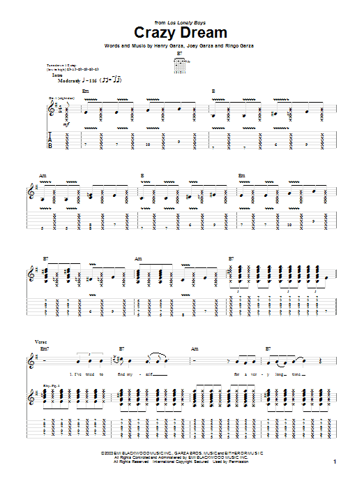 Los Lonely Boys Crazy Dream sheet music preview music notes and score for Guitar Tab including 9 page(s)