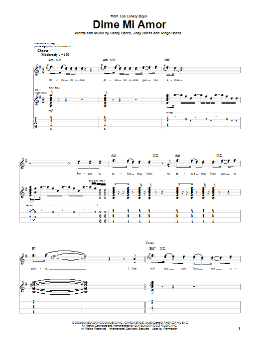 Los Lonely Boys Dime Mi Amor sheet music preview music notes and score for Piano, Vocal & Guitar (Right-Hand Melody) including 8 page(s)