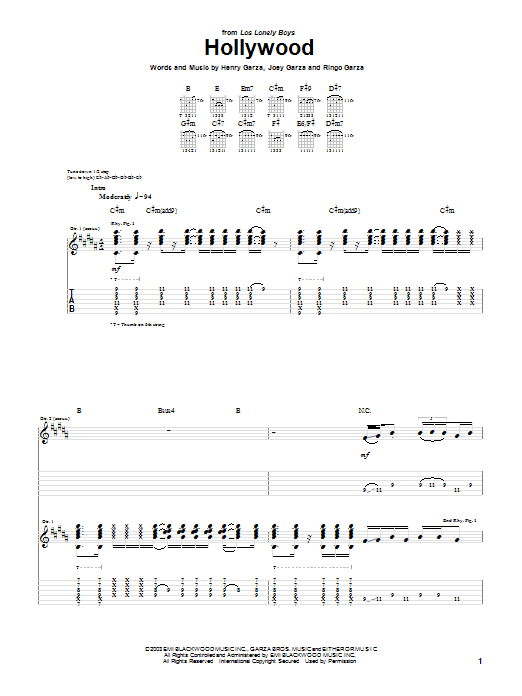 Los Lonely Boys Hollywood sheet music preview music notes and score for Guitar Tab including 10 page(s)