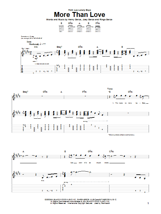 Los Lonely Boys More Than Love sheet music notes and chords
