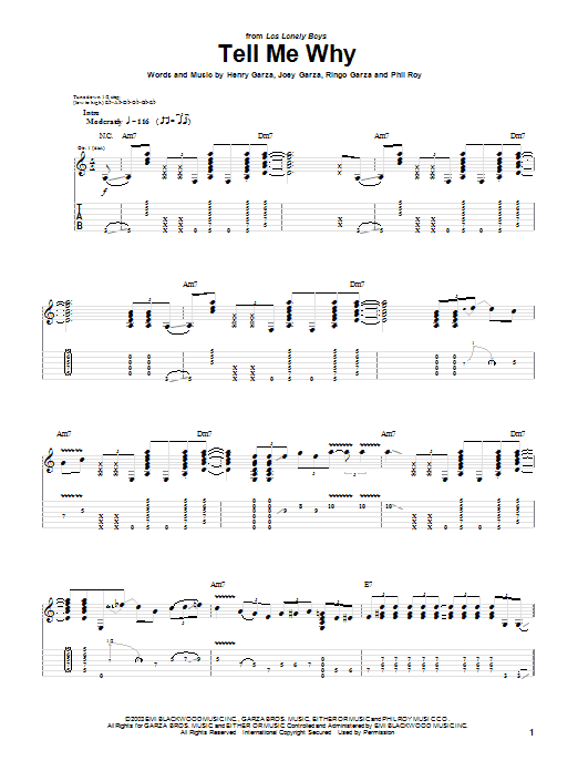 Los Lonely Boys Tell Me Why sheet music notes and chords