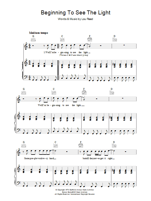 Lou Reed Beginning To See The Light sheet music preview music notes and score for Piano, Vocal & Guitar (Right-Hand Melody) including 6 page(s)