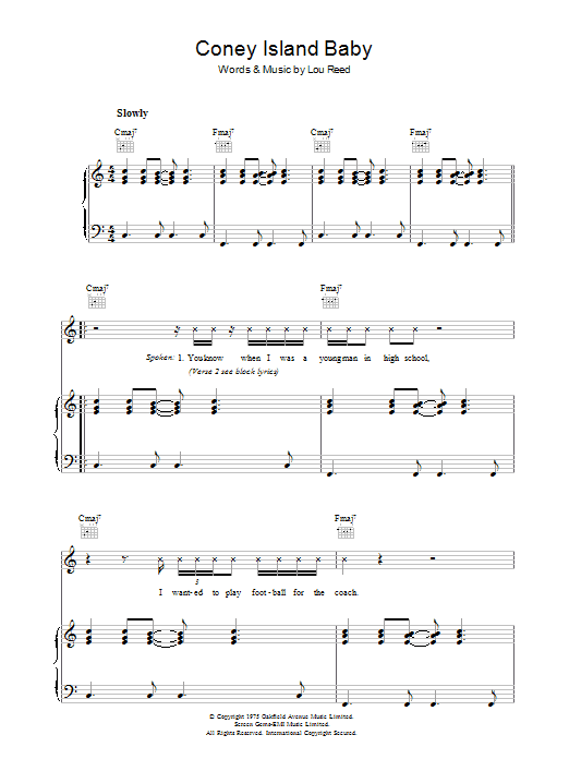Lou Reed Coney Island Baby sheet music preview music notes and score for Piano, Vocal & Guitar including 10 page(s)