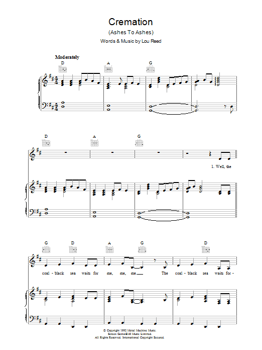 Lou Reed Cremation sheet music preview music notes and score for Piano, Vocal & Guitar (Right-Hand Melody) including 5 page(s)