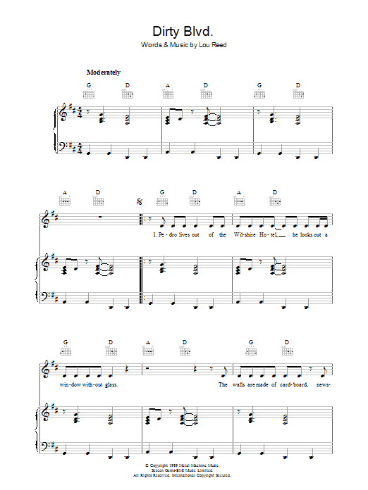Lou Reed Dirty Blvd. sheet music preview music notes and score for Piano, Vocal & Guitar including 6 page(s)