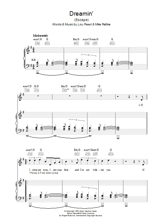 Lou Reed Dreamin' sheet music preview music notes and score for Piano, Vocal & Guitar including 3 page(s)