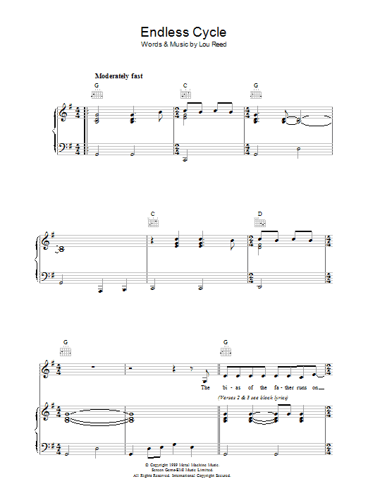 Lou Reed Endless Cycle sheet music preview music notes and score for Piano, Vocal & Guitar including 5 page(s)