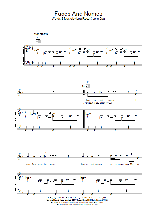 Lou Reed Faces And Names sheet music preview music notes and score for Piano, Vocal & Guitar including 6 page(s)