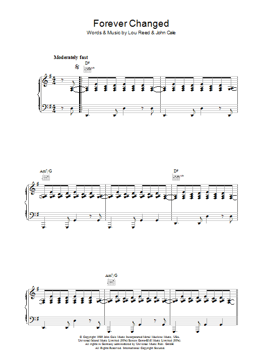 Lou Reed Forever Changed sheet music preview music notes and score for Piano, Vocal & Guitar including 7 page(s)