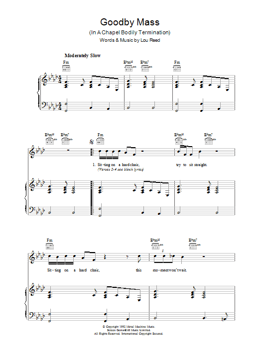 Lou Reed Goodby Mass sheet music preview music notes and score for Piano, Vocal & Guitar including 3 page(s)