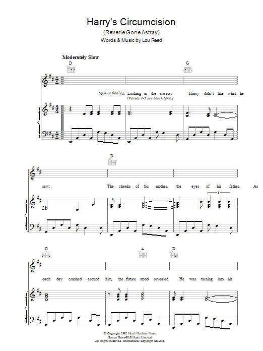 Lou Reed Harry's Circumcision sheet music preview music notes and score for Piano, Vocal & Guitar including 3 page(s)