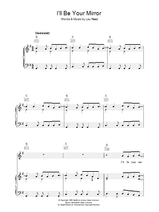 Lou Reed I'll Be Your Mirror sheet music preview music notes and score for Piano, Vocal & Guitar (Right-Hand Melody) including 5 page(s)