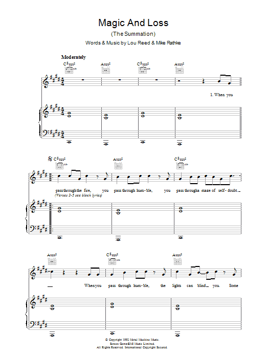 Lou Reed Magic And Loss sheet music preview music notes and score for Piano, Vocal & Guitar including 6 page(s)