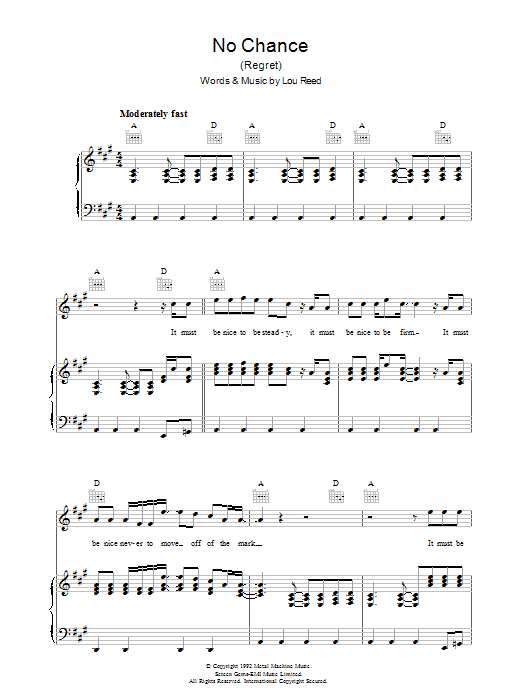 Lou Reed No Chance sheet music preview music notes and score for Piano, Vocal & Guitar (Right-Hand Melody) including 6 page(s)
