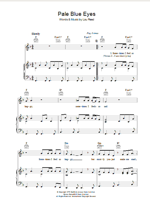 Lou Reed Pale Blue Eyes sheet music preview music notes and score for Piano, Vocal & Guitar (Right-Hand Melody) including 5 page(s)