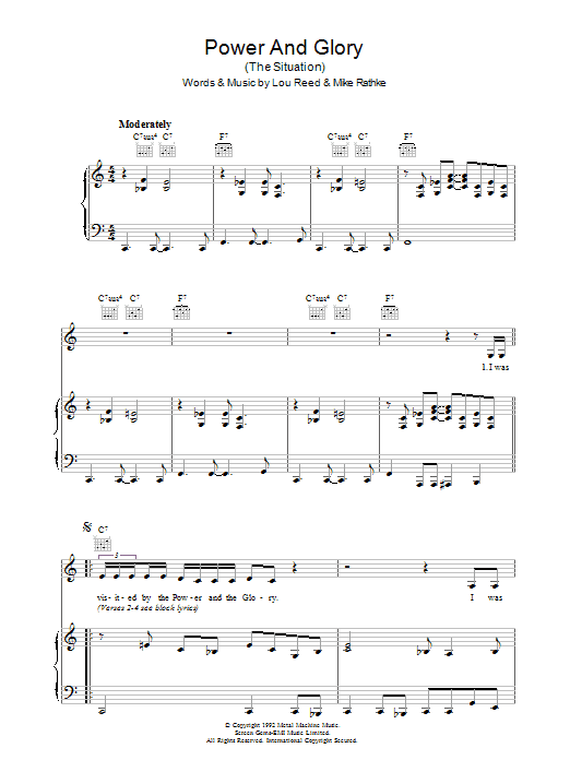 Lou Reed Power And Glory sheet music preview music notes and score for Piano, Vocal & Guitar including 7 page(s)