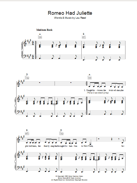 Lou Reed Romeo Had Juliette sheet music preview music notes and score for Piano, Vocal & Guitar including 6 page(s)