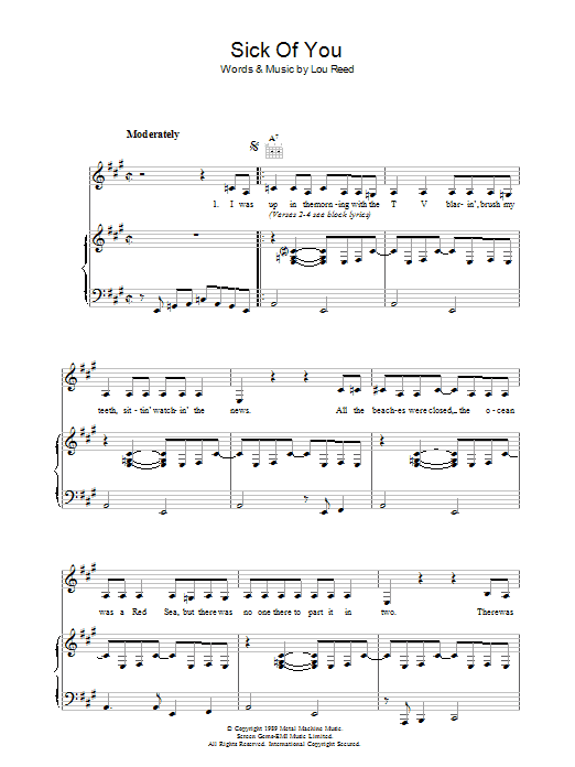 Lou Reed Sick Of You sheet music preview music notes and score for Piano, Vocal & Guitar including 7 page(s)