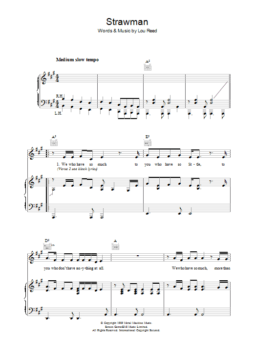 Lou Reed Strawman sheet music preview music notes and score for Piano, Vocal & Guitar (Right-Hand Melody) including 5 page(s)