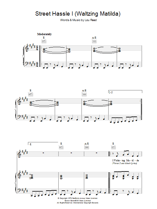 Lou Reed Street Hassle I sheet music preview music notes and score for Piano, Vocal & Guitar (Right-Hand Melody) including 6 page(s)