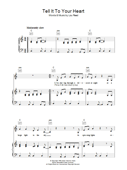 Lou Reed Tell It To Your Heart sheet music preview music notes and score for Piano, Vocal & Guitar (Right-Hand Melody) including 7 page(s)