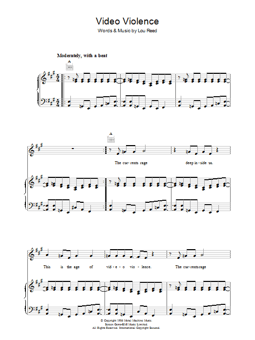Lou Reed Video Violence sheet music preview music notes and score for Piano, Vocal & Guitar including 5 page(s)