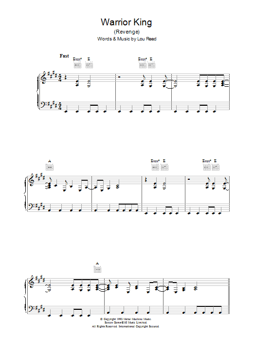 Lou Reed Warrior King sheet music preview music notes and score for Piano, Vocal & Guitar (Right-Hand Melody) including 5 page(s)