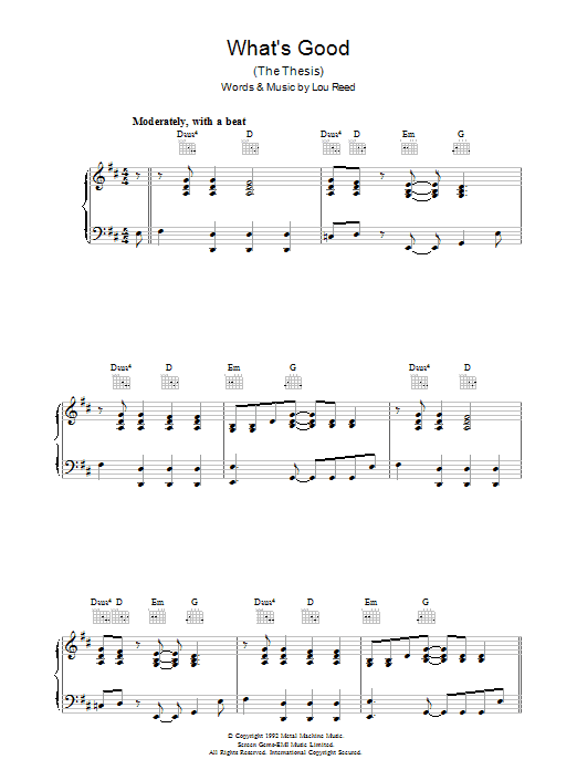 Lou Reed What's Good sheet music preview music notes and score for Piano, Vocal & Guitar (Right-Hand Melody) including 7 page(s)