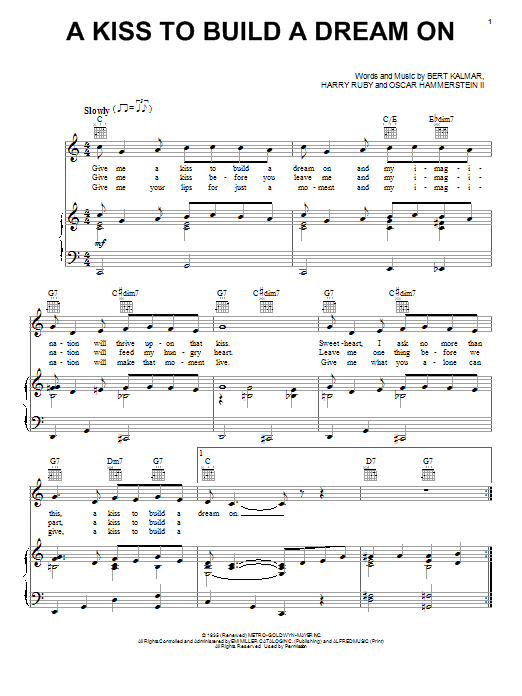 Louis Armstrong A Kiss To Build A Dream On sheet music preview music notes and score for Piano, Vocal & Guitar (Right-Hand Melody) including 4 page(s)