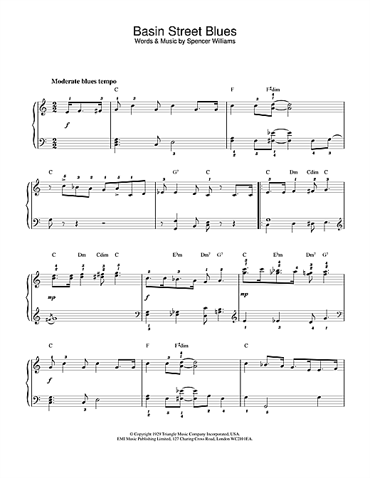 Louis Armstrong Basin Street Blues sheet music notes and chords