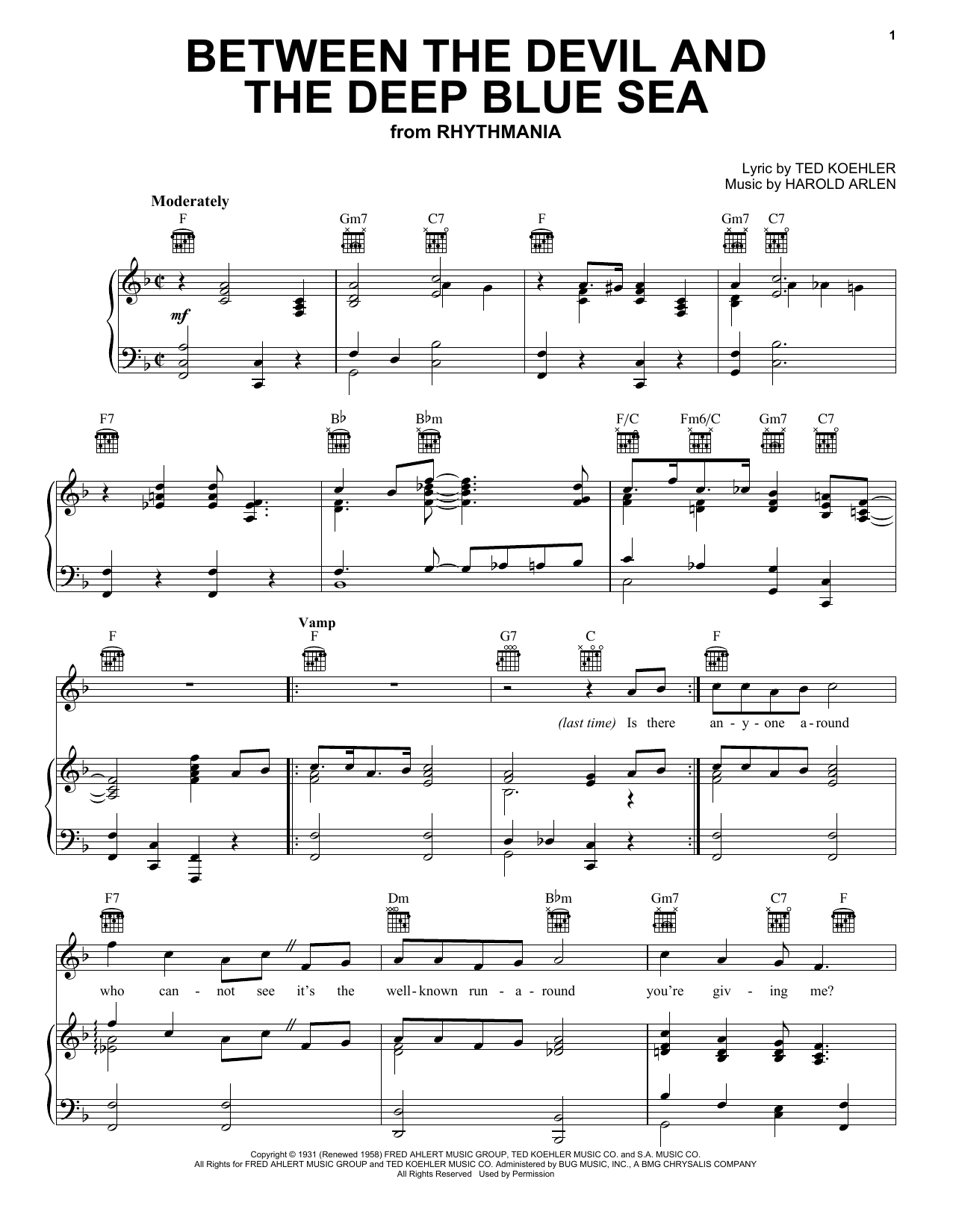 Louis Armstrong Between The Devil And The Deep Blue Sea sheet music preview music notes and score for Piano, Vocal & Guitar (Right-Hand Melody) including 4 page(s)