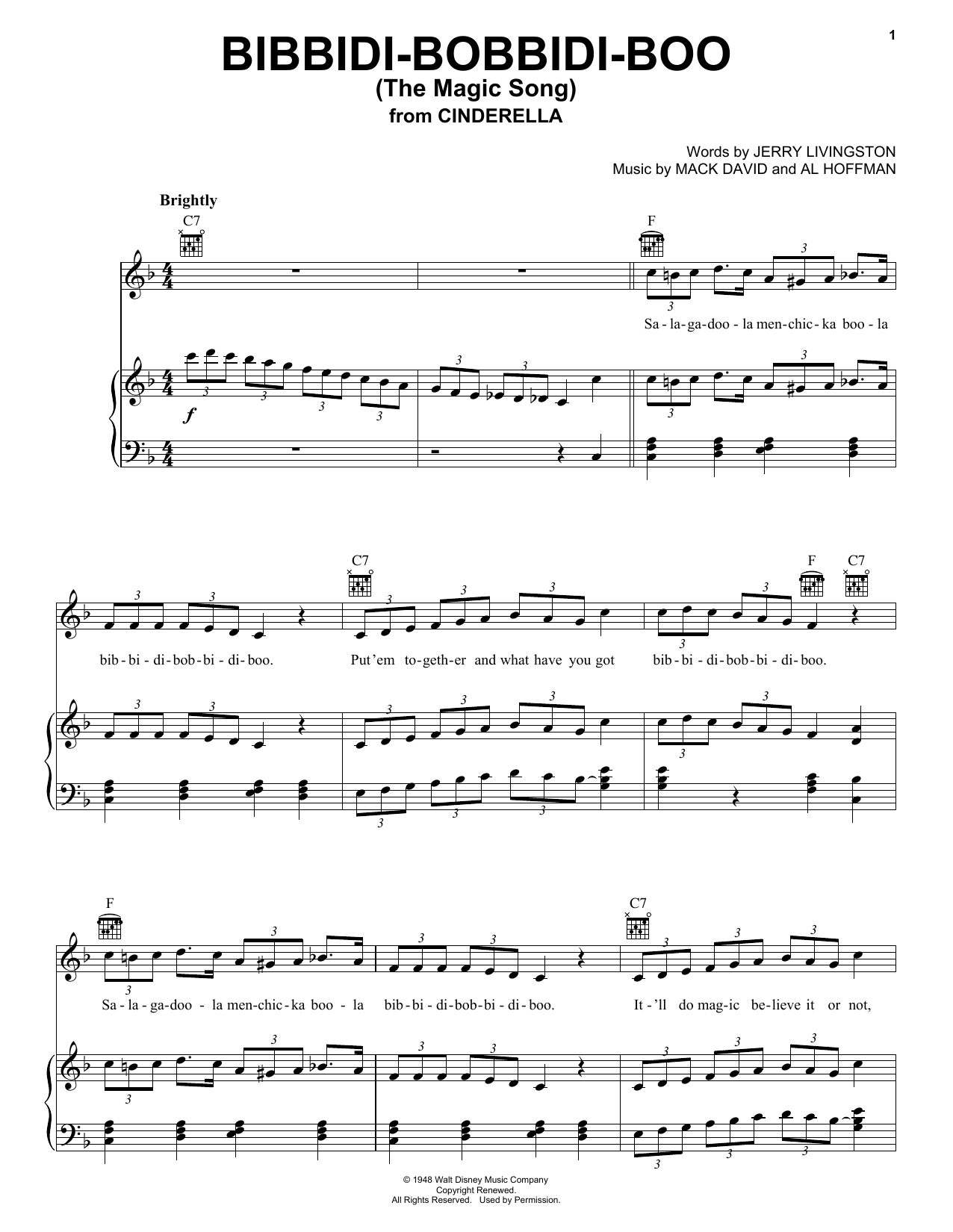 Louis Armstrong Bibbidi-Bobbidi-Boo (The Magic Song) sheet music preview music notes and score for Accordion including 2 page(s)