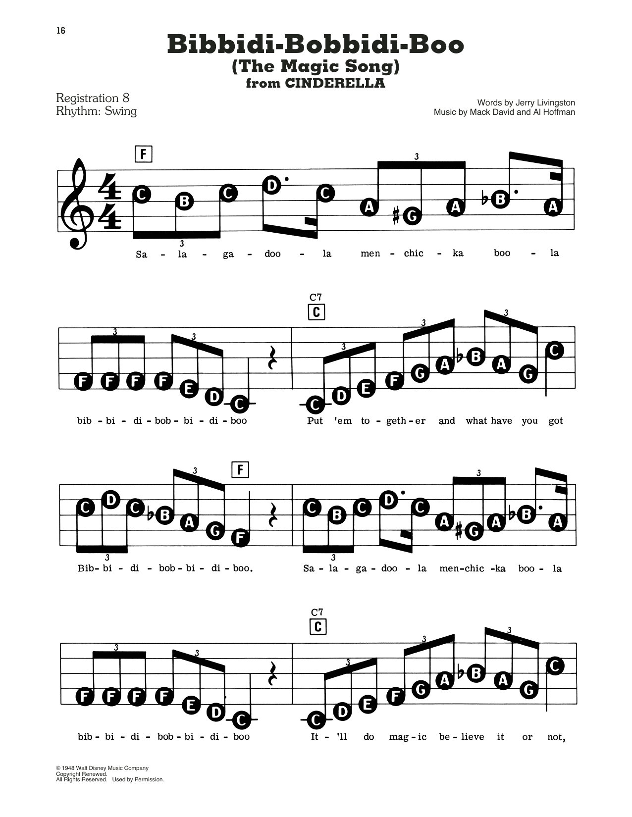Louis Armstrong Bibbidi-Bobbidi-Boo (The Magic Song) sheet music preview music notes and score for E-Z Play Today including 2 page(s)