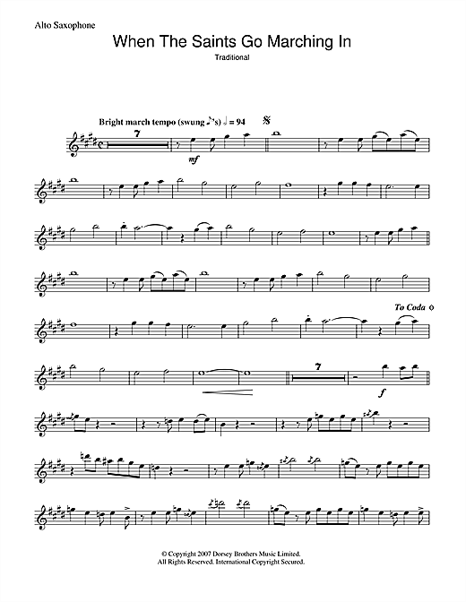 Louis Armstrong When The Saints Go Marching In sheet music preview music notes and score for Piano, Vocal & Guitar (Right-Hand Melody) including 6 page(s)