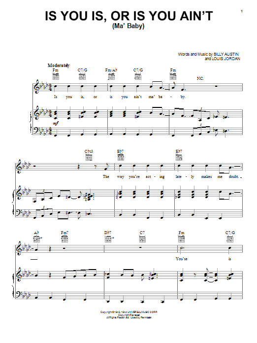 Louis Jordan Is You Is, Or Is You Ain't (Ma' Baby) sheet music preview music notes and score for Guitar Tab including 2 page(s)