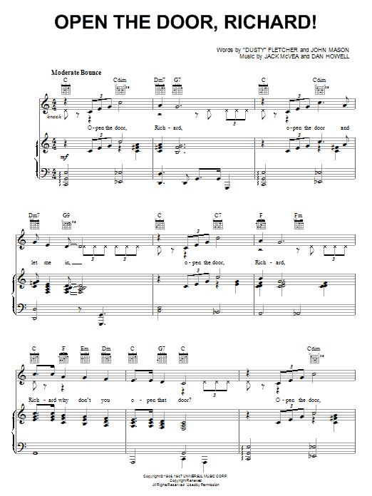 Louis Jordan Open The Door, Richard! sheet music notes and chords