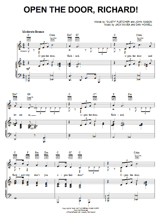 Louis Jordan Open The Door, Richard! sheet music preview music notes and score for Piano, Vocal & Guitar (Right-Hand Melody) including 3 page(s)