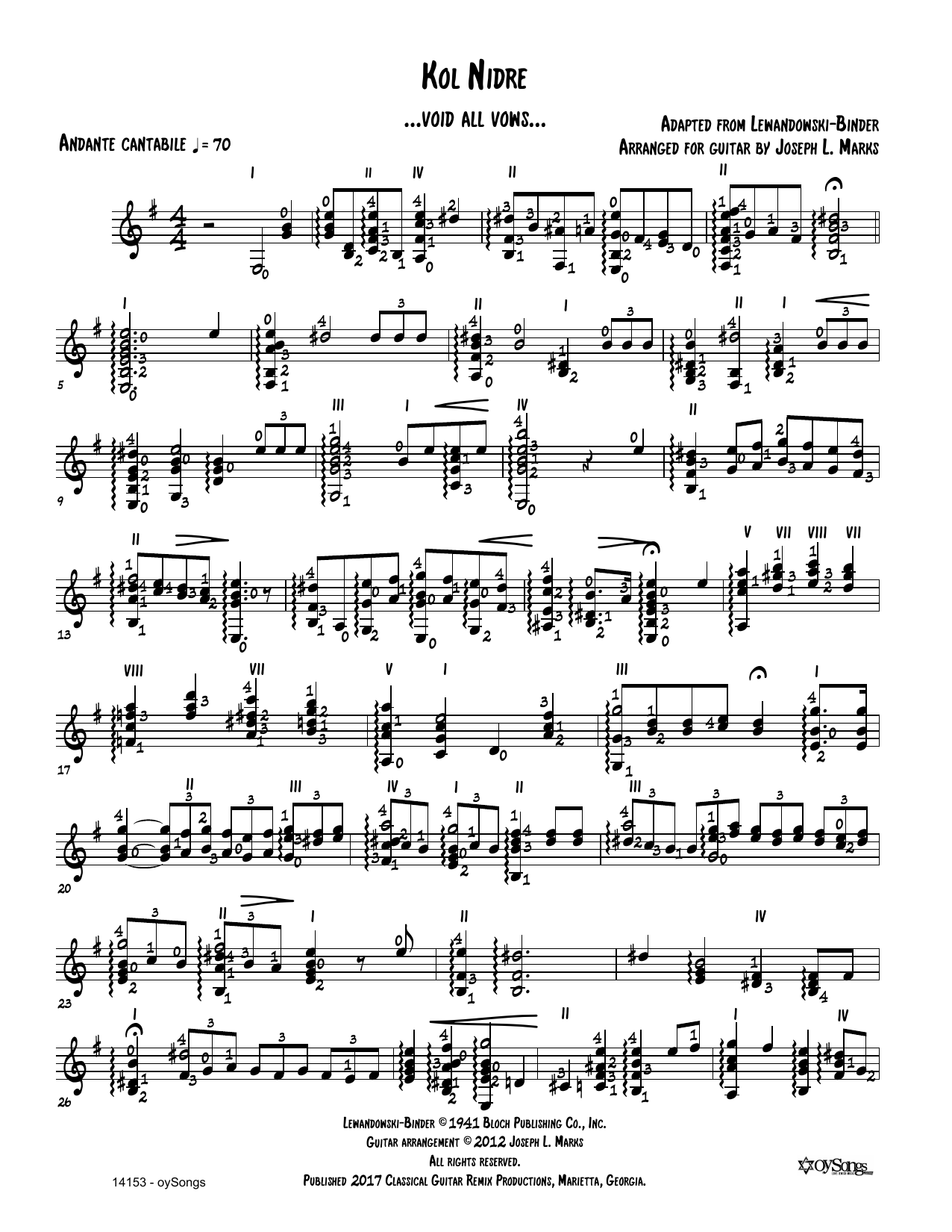 Louis Lewandowski Kol Nidre (arr. Joe Marks) sheet music preview music notes and score for Solo Guitar Tab including 2 page(s)