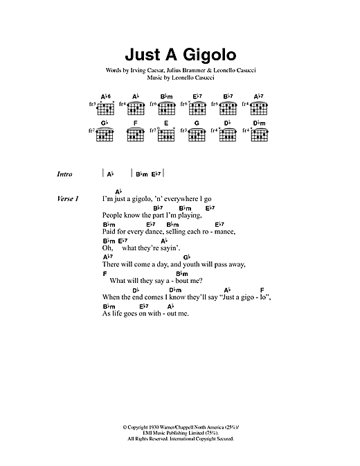Louis Prima Just A Gigolo sheet music preview music notes and score for Lyrics & Chords including 5 page(s)