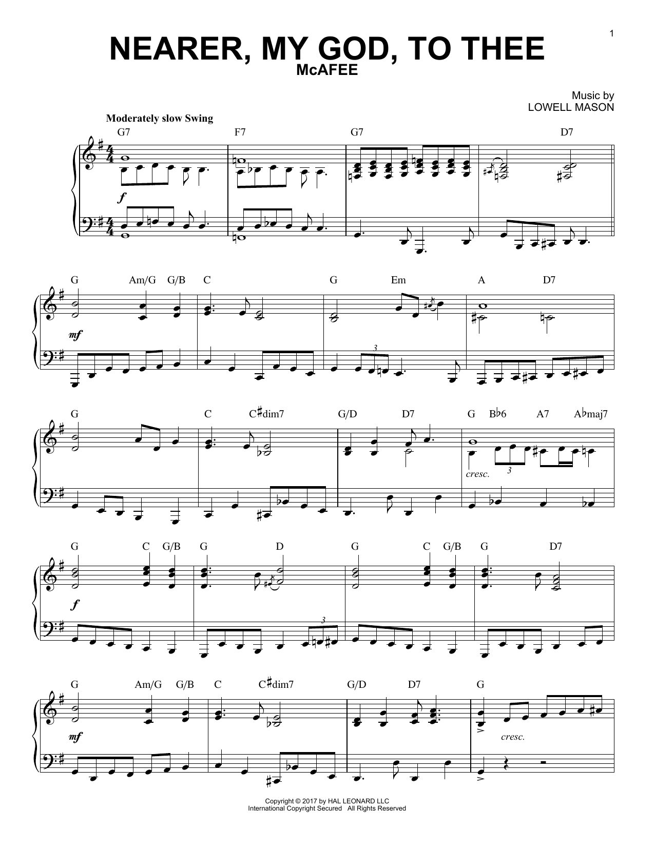 Download Lowell Mason 'Nearer, My God, To Thee' Digital Sheet Music Notes & Chords and start playing in minutes