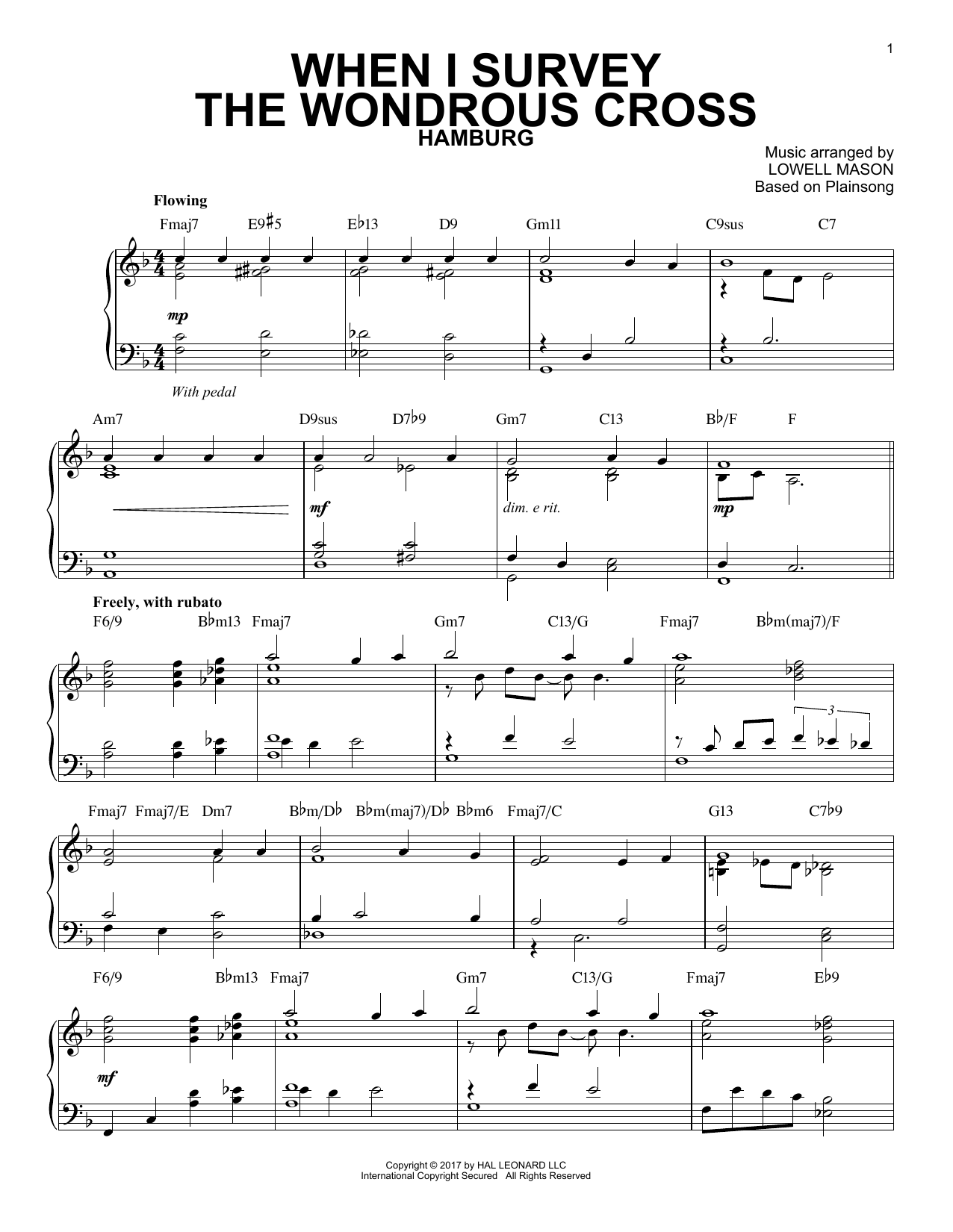Download Lowell Mason 'When I Survey The Wondrous Cross' Digital Sheet Music Notes & Chords and start playing in minutes