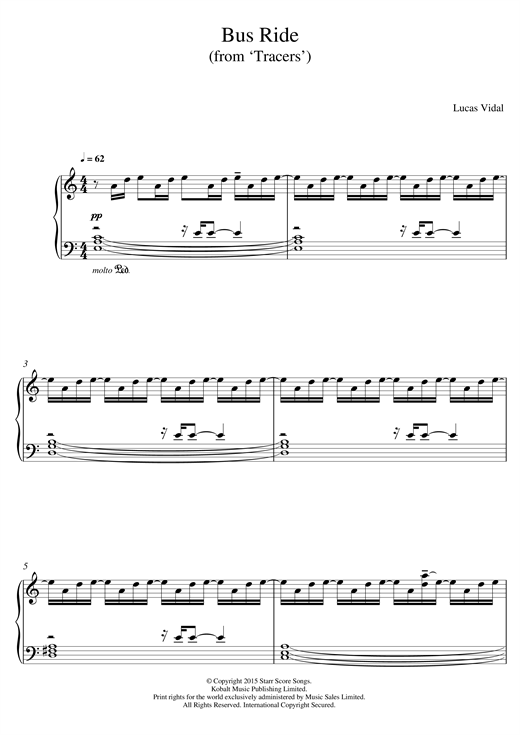Download Lucas Vidal 'Bus Ride (from 'Tracers')' Digital Sheet Music Notes & Chords and start playing in minutes