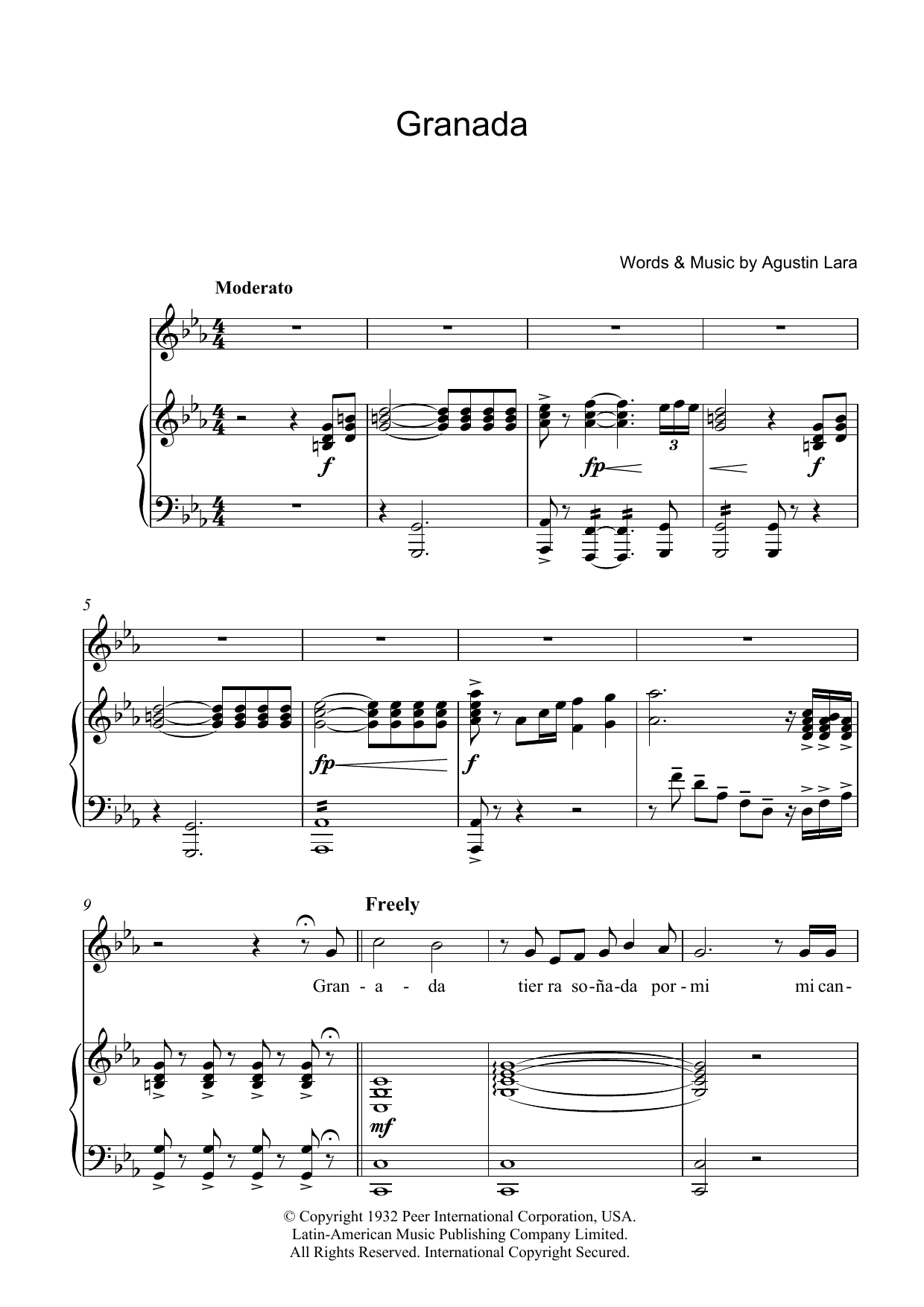 Luciano Pavarotti Granada sheet music preview music notes and score for Piano, Vocal & Guitar including 6 page(s)