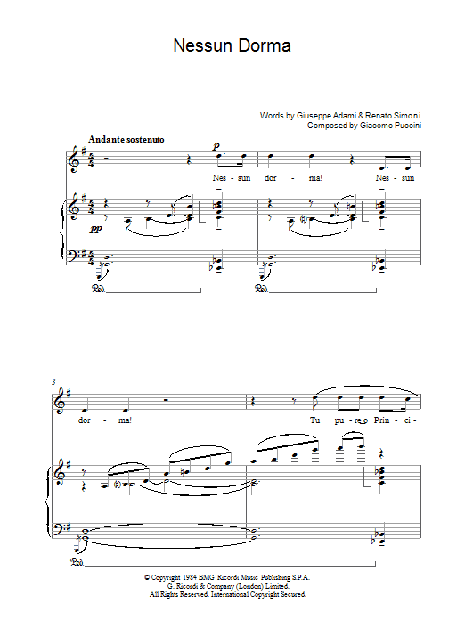 Giacomo Puccini Nessun Dorma (from Turandot) sheet music preview music notes and score for Piano, Vocal & Guitar including 5 page(s)