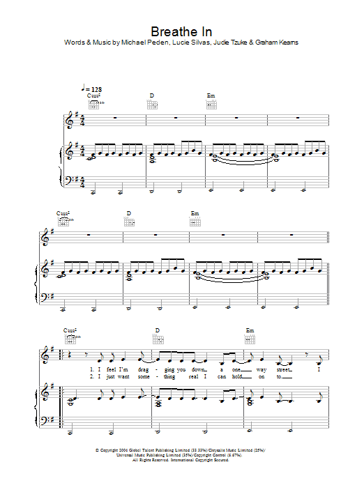 Lucie Silvas Breathe In sheet music preview music notes and score for Piano, Vocal & Guitar (Right-Hand Melody) including 6 page(s)
