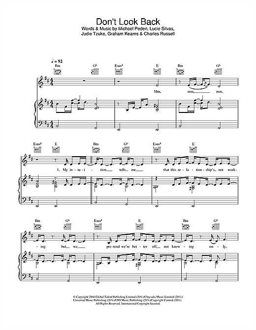 Lucie Silvas Don't Look Back sheet music notes and chords