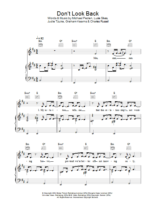 Lucie Silvas Don't Look Back sheet music preview music notes and score for Piano, Vocal & Guitar (Right-Hand Melody) including 5 page(s)