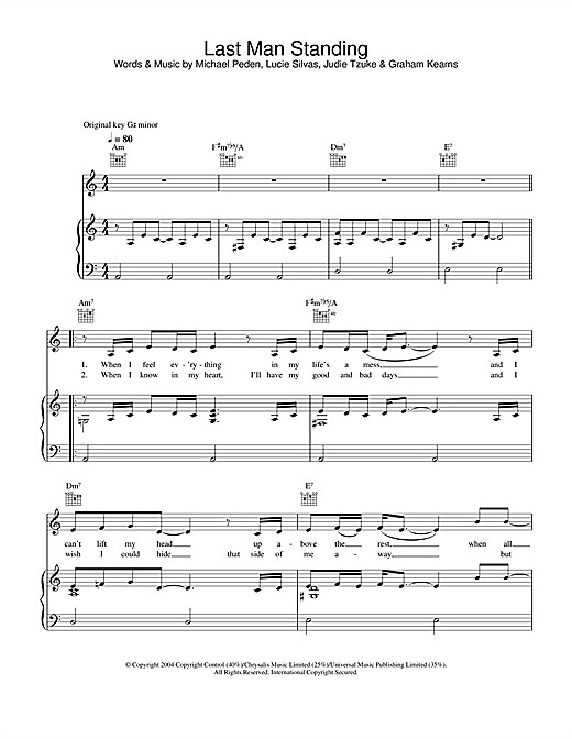 Lucie Silvas Last Man Standing sheet music notes and chords