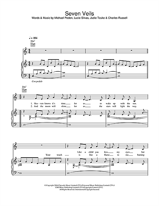 Lucie Silvas Seven Veils sheet music notes and chords