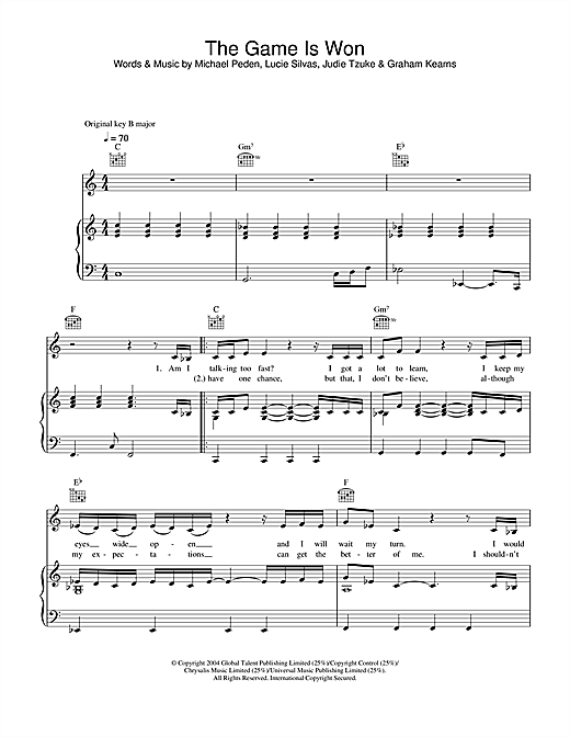 Lucie Silvas The Game Is Won sheet music notes and chords